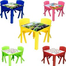 Plastic Children Table and Chairs for Kids Toddlers Nursery Set Outdoor indoor