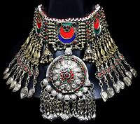 Big Afghan Pendant Kuchi Choker Necklace Ethnic Tribal Jewelry Belly Dance Boho