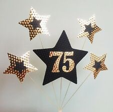 75th BIRTHDAY or ANNIVERSARY CAKE TOPPER. STARS,  Black and Gold.
