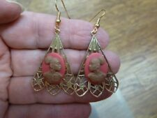 CAE1-14) RARE African American LADY brown + pink CAMEO dangle Earrings JEWELRY