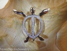 Hawaiian Petroglyph Turtle Cz Slide Pendant 28.5Mm Rhodium On Solid Ster Silver
