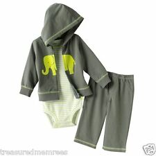 Carter's 3 Piece Pants, Body Suit & Hooded Cardigan Set ~ Size 3 Months ~ NWT