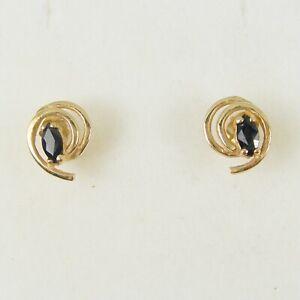 0.40ct Marquise Australian Sapphire Gemstone Stud Earrings Genuine 375 9ct Gold