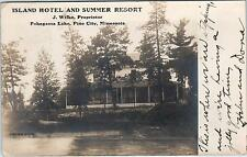 RPPC PINE CITY, MN Minnesota  ISLAND HOTEL & Summer RESORT  1907 Postcard