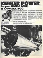 Kerker Exhausts – 1974 Vintage Magazine Advert – USA 'Cycle' Motorcycle Magazine