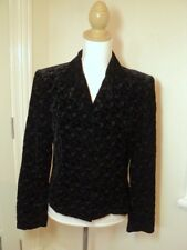 laura ashley black silk velvet embroidered jacket uk  12