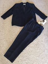 NWT CHAUS Women's Two Piece Pant Suit (navy Silk) Sz 22
