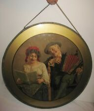 "Old Extra Large Kitchen Flue Cover 11 3/4"" Music Maker Man & Woman w/ Accordion"