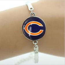New Chicago Bears Team Logo Glass Charm Silver Cuff Bracelet Womens NFL Jewelry