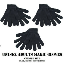 Adult Ladies Mens Womens Small Thermal Magic Winter Gloves Black Stretch Unisex