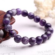 100% Natural Uruguay Amethyst Quartz Crystal Round Beads Stretch Bracelet 10MM