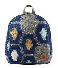 Urban handmade minibackpack Earth natural wool and leather padded hidden pocket