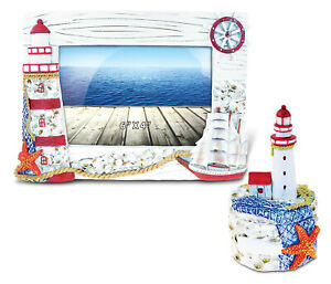 Puzzled Frame and Jewelry Box Red and White Lighthouse Tower - Set of 2
