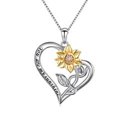 Mothers Day Gift S925 Sterling Silver You Are My Sunshine Sunflower Necklace