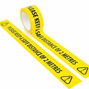 Social Distancing Floor Tape Yellow Hazard Safe Distance 2 Metres 50mm x 33m