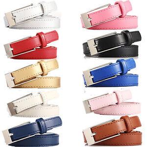 """Ladies Fun Chrome Buckle Faux Leather Belt 3/4"""" Ladies Vegetarian Vegan Belts"""