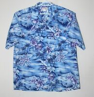 Ho Aloha men's blue Hawaiian floral palmtrees short sleeve shirt, XL, EUC