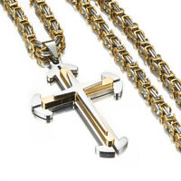 Hip-hop Stainless Steel Silver Gold Cross Pendant Byzantine Chain Men's Necklace