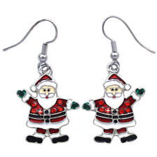 Christmas Santa Clause Green Mitten Dangle Charm Earrings Holiday Jewelry Gift
