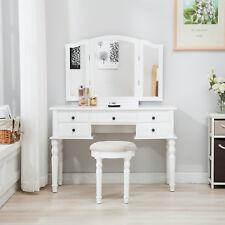Tri Folding Mirror Vanity White Dressing Table Set Makeup Desk Dresser W/  Stool