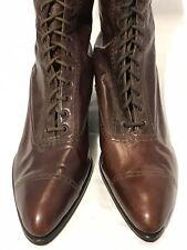 Antique Victorian Selz Chicago Brown Leather Lace Up Boots