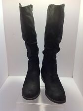 WHITE MOUNTAIN- black fabric wide slouch boots back calf stretch panel Sz. 10