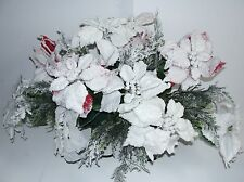 Christmas Flocked Red White Poinsettia Cemetery Tombstone Saddle Ship Nationwide