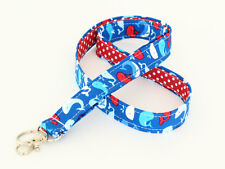Nautical Lanyard Badge Strap Animal Fabric Key ID Lanyard Cloth - whales on blue