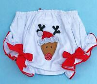 Mud Pie Bloomers Christmas Diaper Cover Reindeer 12-18 months Baby Girl White