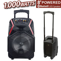 "8"" 1000W Portable Stereos FM Bluetooth Party Speaker Bass Subwoofer PA System"
