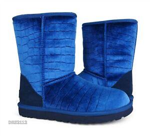 UGG Classic Short II Croc Navy Velvet Fur Boots Womens 8 *NIB*