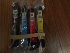 SET OF 4 GENUINE EPSON 200 BLACK C/M/Y INK WORKFORCE 2520 2530 2540 XP 300 410