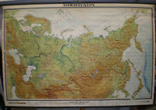 Wall Map Soviet Union Russia Siberia Taiga 96 1/8x64 3/16in Vintage Map~1960