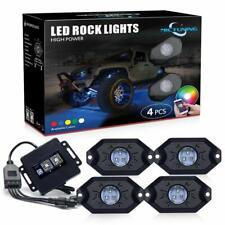 MICTUNING 4 Pod RGB LED Rock Lights Offroad Music Wireless Bluetooth Control ATV