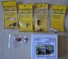 New Lot 6 Model Tech Studios Ho Gauge Figures, Rusted Car, Porter, Rr Guard Read