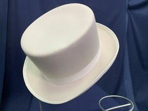 White Wool Top Hat Adult Accessory Formal Mart Medium NOS