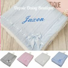 Personalised Baby Blanket Deluxe Supersoft Cosy Sherpa Back