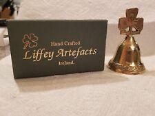 LIFFEY ARTEFACTS in Original Box,  Irish Solid Brass Shamrock Bell