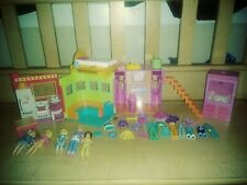 Polly Pocket 2002 Sparkle Apartment Playset Folding Take Along Clothes + new car