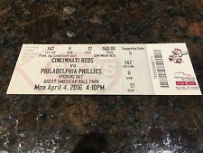 2016 Cincinnati REDS *Opening Day* Ticket Stub - 4/4/16 vs Phillies