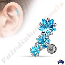 Silver Ion Plated Tragus/Cartilage Stud with Triple Star Blue CZ Set