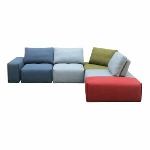 "118"" Modular Sectional Adjustable Backrests Modern Multicolor Fabric Solid Wood"