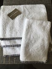 "SFERRA Winslet Set of 4 Fingertip Towels White Navy Blue 100% Cotton 12"" x 20"""