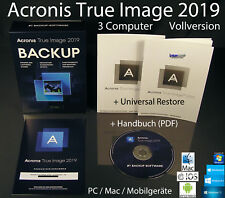 Acronis True Image 2019 Vollversion 3 PC/Mac Box, CD + Universal Restore OVP NEU