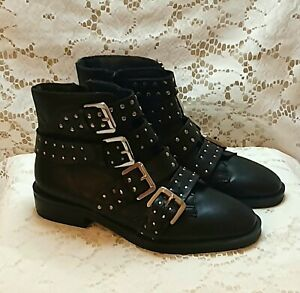 Topshop Amy 2 Black Ankle Studded Buckle Boots Size 5.5 Brand New