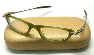OAKLEY WHY 1 Green Gold Plastic Metal Wire Eyeglasses Frames
