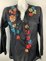 Johnny Was Sz M Long Sleeve Boho Floral Embroidered Tunic Blouse Black