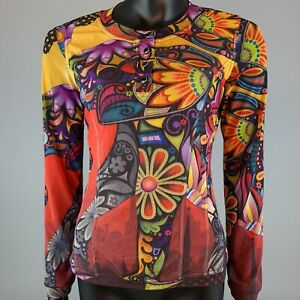 Critical Mass Creates Rave Festival Psychedelic 60s 70s Style Curve Mesh Top 10