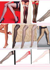 lady sexy lace top fishnet thigh high bows various black red white stocking hold