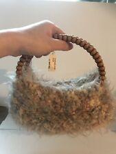 Hand Knit Wool Tote Handbag Purse Acrylic Handles
